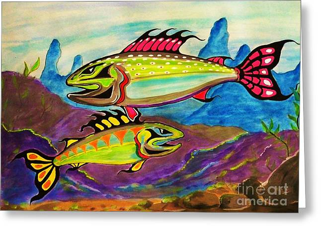 Salmon Of Colour Greeting Card