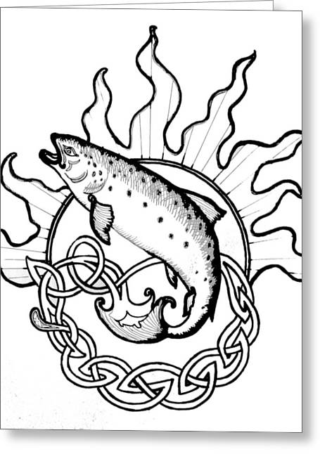 Salmon Of Knowledge Greeting Card by Tomas OMaoldomhnaigh
