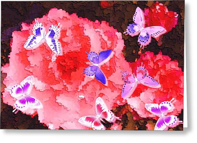 Salmon Pink Rose Fantasy Glowing Butterflies Enhanced Greeting Card by L Brown