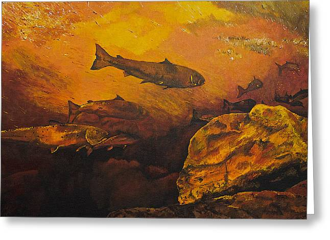 Salmon Run Greeting Card by Terry Gill