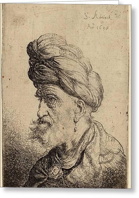 Salomon Koninck Dutch, 1609 - 1656, Bust Of A Man Greeting Card by Quint Lox