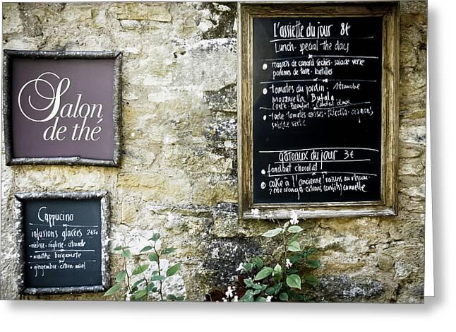 Salon De The - French Menu Signs Greeting Card by Georgia Fowler