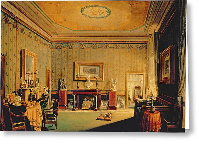 Salon In The Barbierrini House, 1830-40s Oil On Canvas Greeting Card