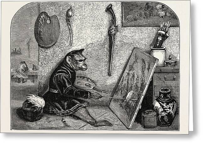 Salon Of 1855. Monkey Painter Greeting Card