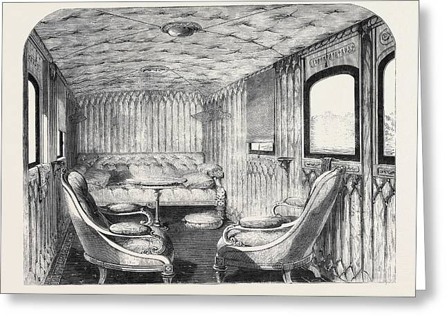 Saloon Of Her Majestys Carriage On The London Greeting Card
