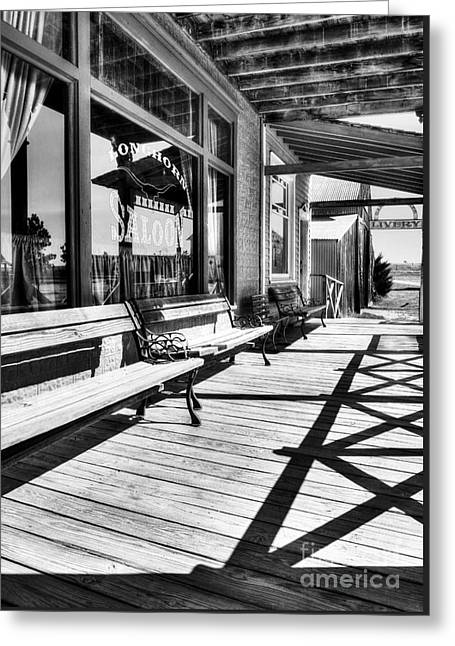 Saloon Shadows Bw Greeting Card