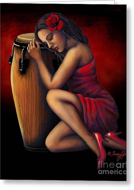 Salsa Heartbeat Greeting Card by Tammy Yee