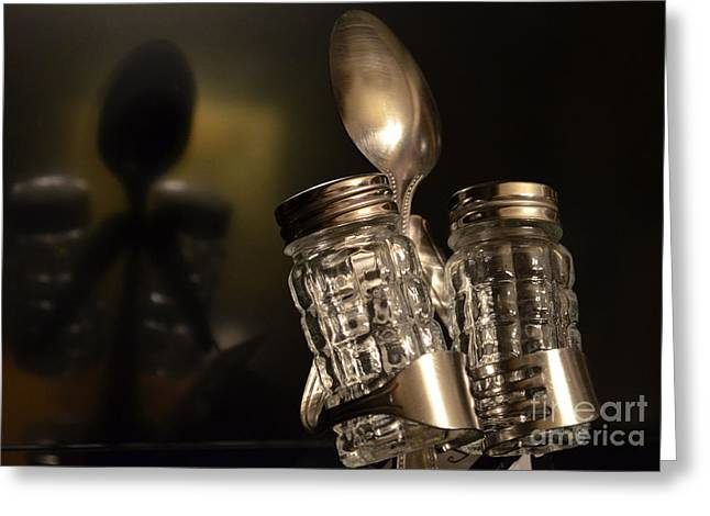 Salt And Pepper Reflection Greeting Card by David G Nichols