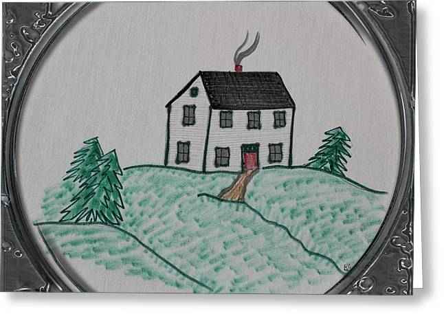 Salt Box Style House - Porthole Vignette Greeting Card by Barbara Griffin