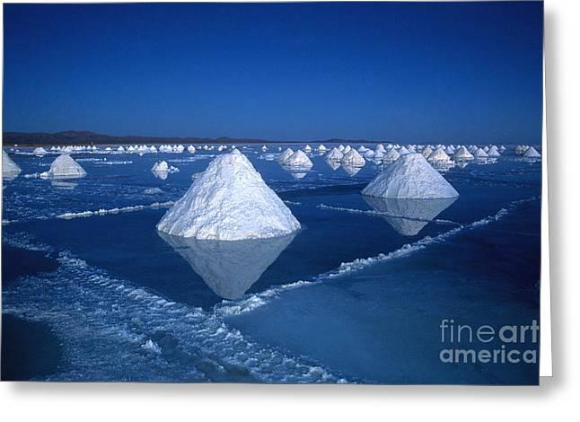 Salt Cones At Nightfall Greeting Card by James Brunker