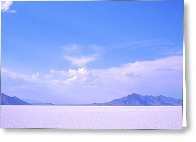 Salt Flats With A Mountain Range Greeting Card by Panoramic Images
