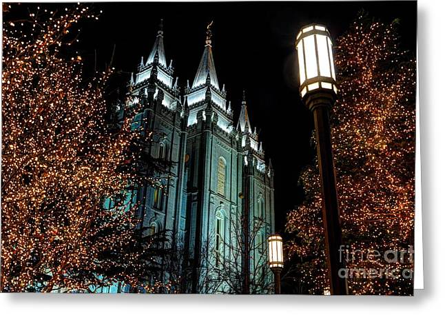 Salt Lake City Mormon Temple Christmas Lights Greeting Card