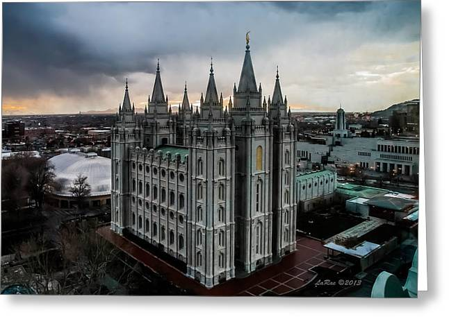 Salt Lake City Temple Sunset Greeting Card by La Rae  Roberts