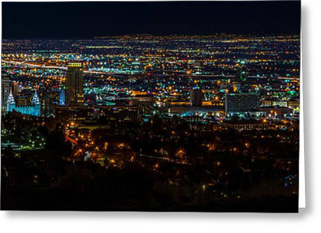 Salt Lake City Utah Nightscape Greeting Card by TL  Mair