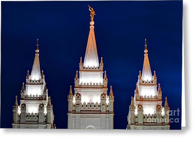 Salt Lake Lds Mormon Temple At Night Greeting Card by Gary Whitton