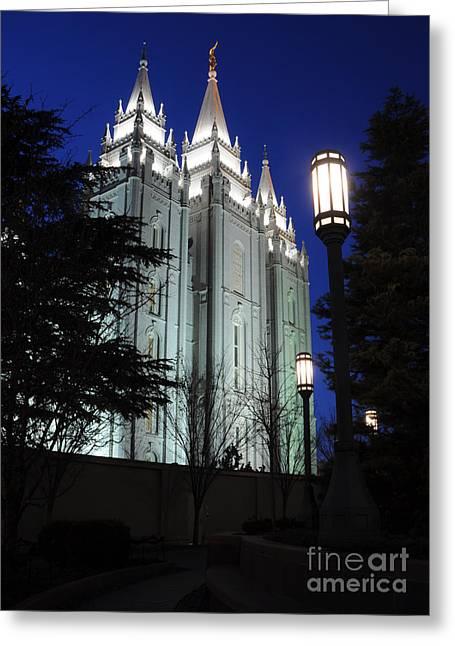 Salt Lake Mormon Temple At Night Greeting Card by Gary Whitton