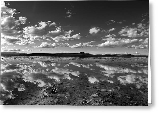 Salt Lake Reflections Black And White Greeting Card by Leland D Howard