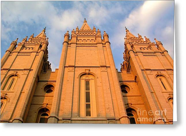 Salt Lake Temple Sunset Closeup Greeting Card by Jenny Wood