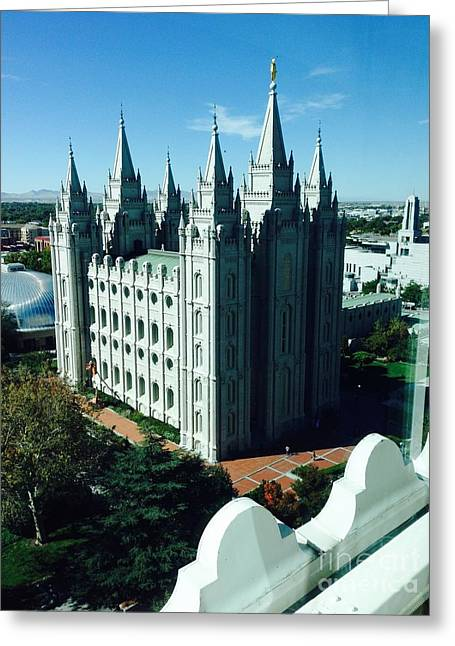 Greeting Card featuring the photograph Salt Lake Temple The Church Of Jesus Christ Of Latter-day Saints The Mormons by Richard W Linford