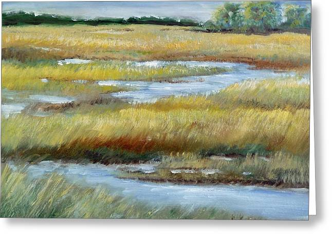 Greeting Card featuring the painting Salt Marsh by Sally Simon