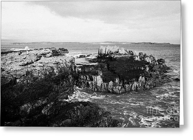 Salt Pan Rocks At Ballycastle Beach With Rathlin Island In The Background In Winter County Antrim Northern Ireland Greeting Card