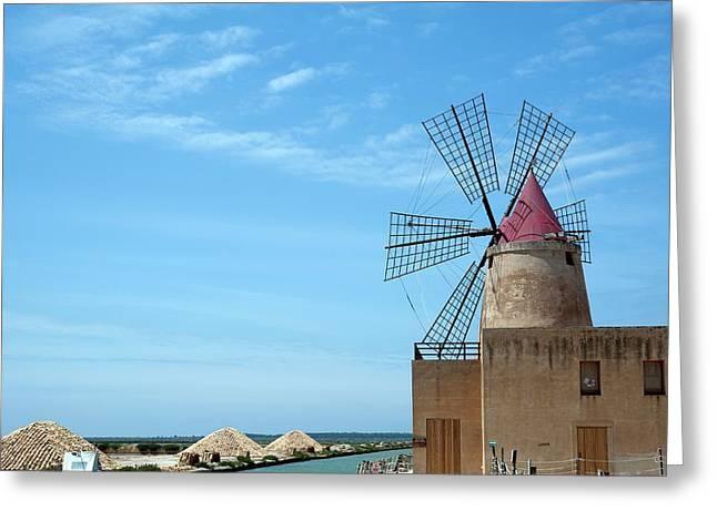 Salt Pan Windmill Greeting Card by Jon Wilson