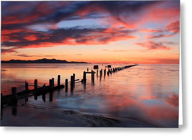 Saltair Sunset Greeting Card by Johnny Adolphson