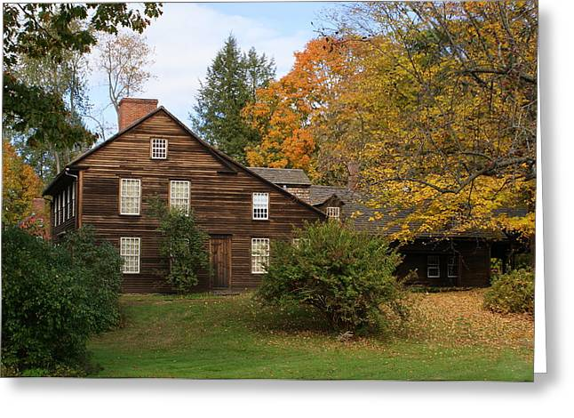 Saltbox In Fall Greeting Card by Lois Lepisto