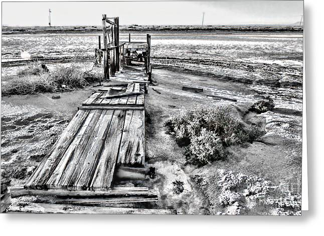 Salton Sea Dock Under Renovation By Diana Sainz Greeting Card
