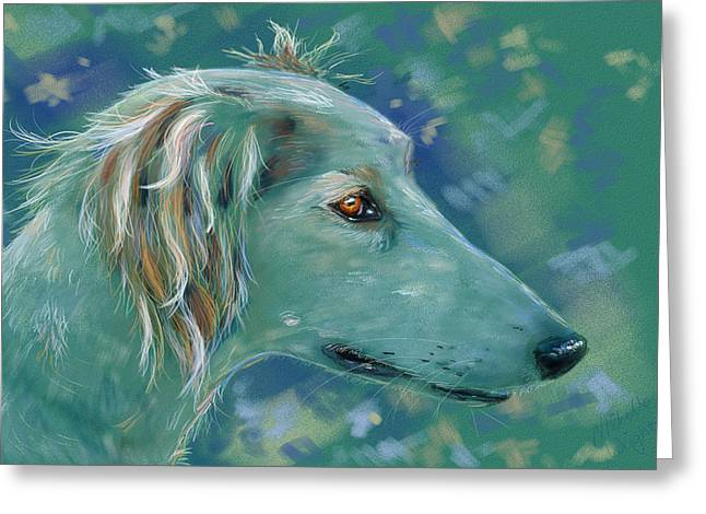 Saluki Dog Painting Greeting Card by Michelle Wrighton