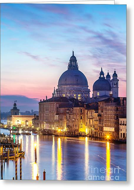 Salute Church And Grand Canal At Sunrise - Venice Greeting Card by Matteo Colombo