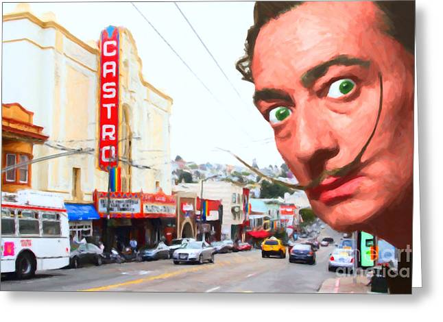 Salvador Dali Arrives In San Francisco Castro District 20141213 Greeting Card