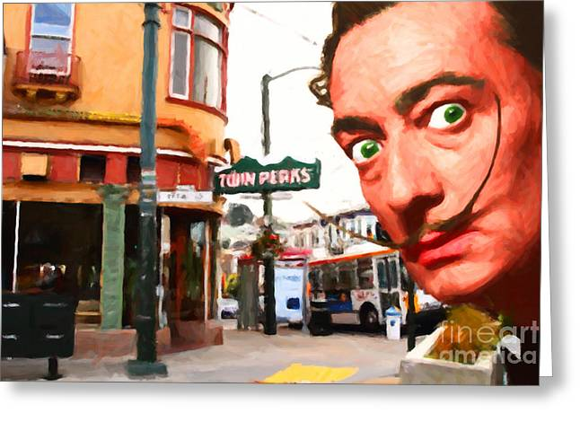 Salvador Dali Is Intrigued By Twin Peaks Bar In San Francisco Ca Greeting Card