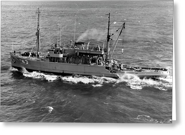 Salvage Ship Uss Recovery Ars-43 Greeting Card by Stocktrek Images