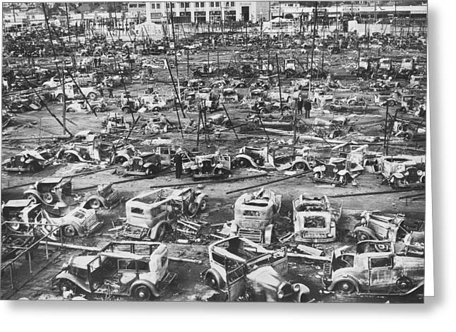 Salvage Yard Row In La Greeting Card by Underwood Archives