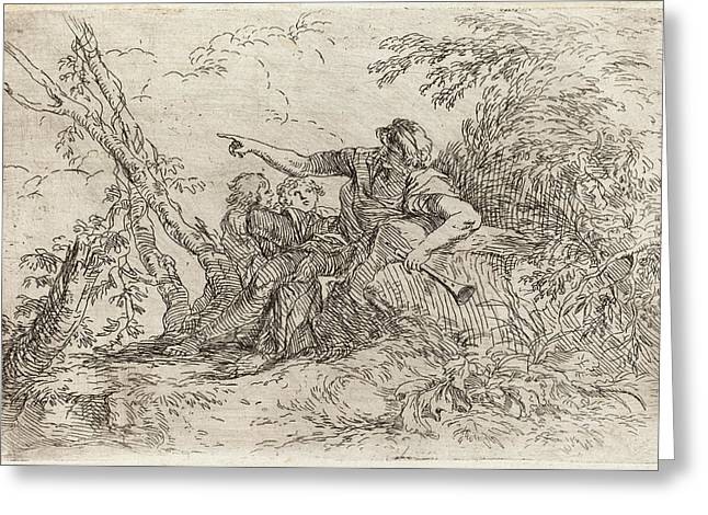 Salvator Rosa Italian, 1615 - 1673, Shepherd In A Landscape Greeting Card by Quint Lox