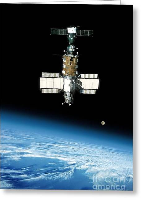 Salyut 7 Space Station In Orbit, 1980s Greeting Card by Detlev Van Ravenswaay