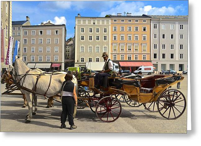 Salzburg Cabbie Greeting Card by Marty  Cobcroft
