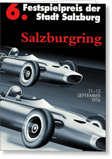 Salzburg Grand Prix 1976 Greeting Card by Georgia Fowler