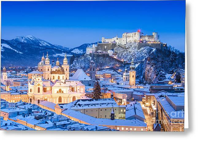 Salzburg In Winter Greeting Card by JR Photography
