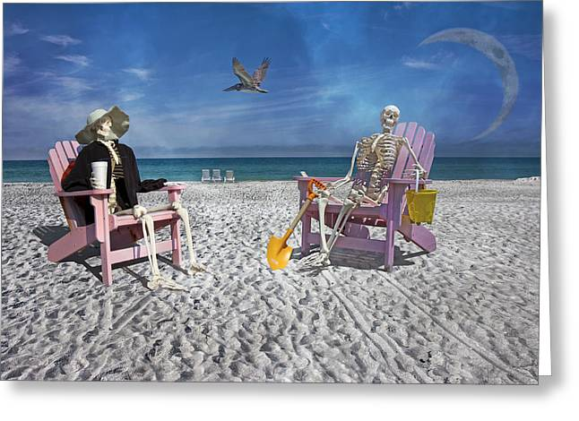 Sam And His Friend Visit Long Boat Key Greeting Card by Betsy Knapp
