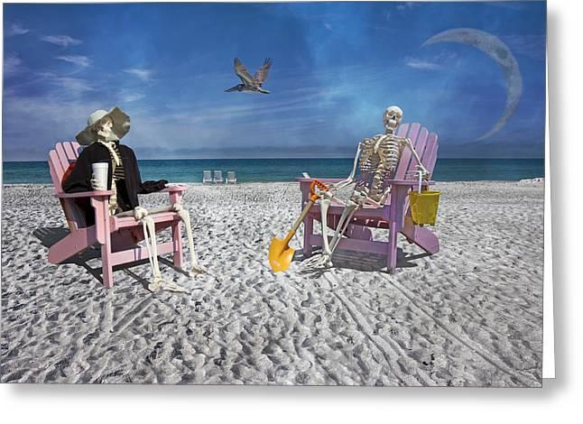 Sam And His Friend Visit Long Boat Key Greeting Card by Betsy C Knapp