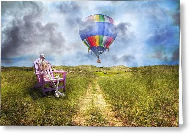 Sam Contemplates Ballooning Greeting Card by Betsy Knapp