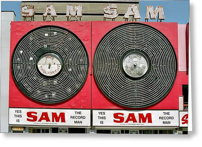 Sam The Record Man Greeting Card