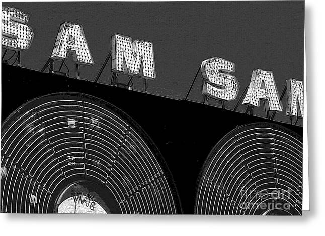 Sam The Record Man At Night Greeting Card