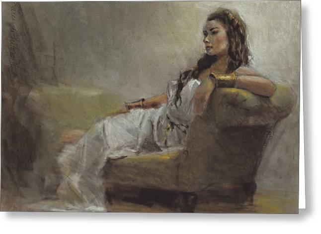 Samantha Painted From Life Greeting Card by Karen Whitworth