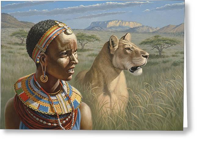 Samburu Watchers   Greeting Card by Paul Krapf