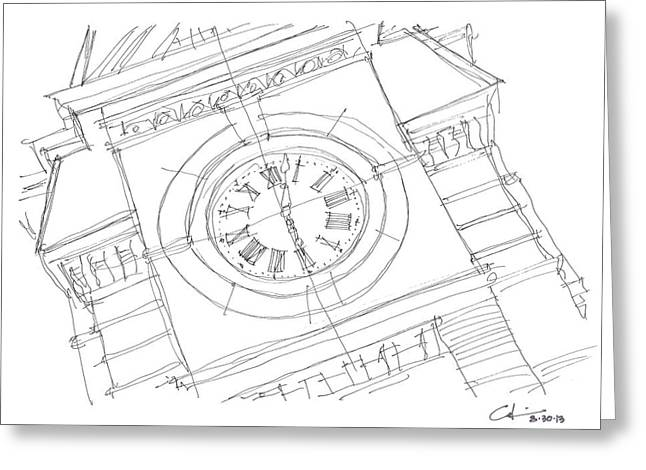 Greeting Card featuring the drawing Samford Clock Sketch by Calvin Durham
