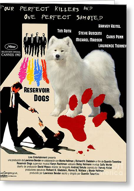 Samoyed Art Canvas Print - Reservoir Dogs Movie Poster Greeting Card