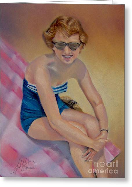 Sam's Pin-up Greeting Card by Leah Wiedemer